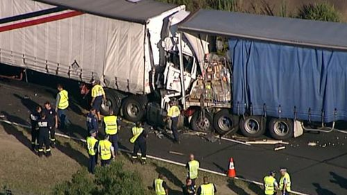 A truck driver had died after he collided into the rear of another semi-trailer on the M2. (9NEWS)
