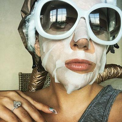 Lady Gaga puts her own twist on the sheet mask selfie.