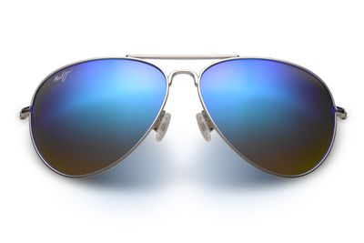 "<a href=""https://au.mauijim.com/en/shop/sunglasses/aviators/mavericks"" target=""_blank"">Maui Jim Mavericks in Silver (Blue Hawaii lens), $369.</a>"