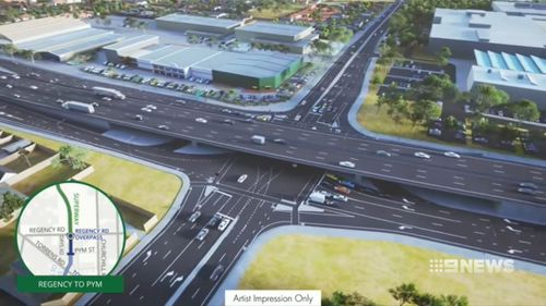 The 1.8 kilometre stretch of South Road between Pym Street and Regency Road in Adelaide's west will be transformed into a six-lane motorway. (9NEWS)