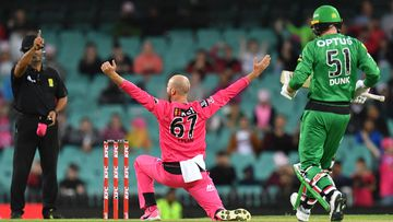 Nathan Lyon of the Sixers successfully appeals for the LBW wicket of Ben Dunk of the Stars during the Big Bash League (BBL) cricket Final between the Sydney Sixers and Melbourne Stars at the SCG in Sydney, Saturday, February 8, 2020. (AAP Image/Dean Lewins)