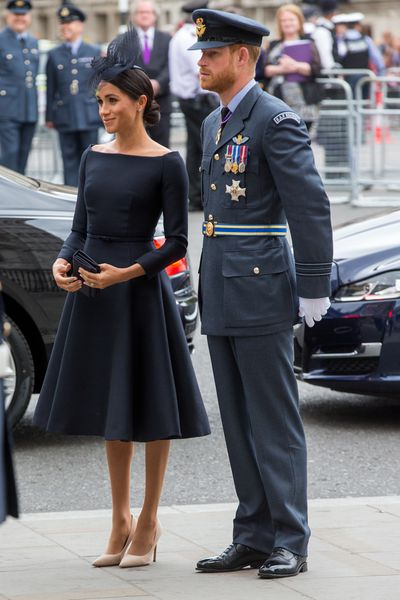 Duchess of Sussex Meghan Markle in Dior at the Royal Air Force centenary celebrationsin London, July, 2018