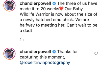 Chandler Powell posted the same photo, taken by Robert Irwin, sharing his excitement at being a dad