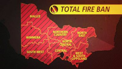 Most of Victoria is under a total fire ban, as fires blaze out of control across the state. (Supplied)