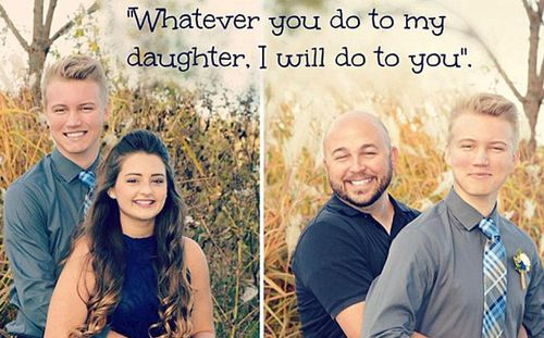 Overprotective father takes picture with his daughter's date