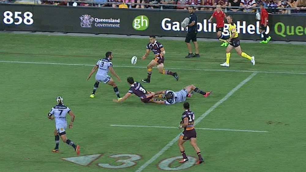 NRL admits mistake after Broncos score try against Cowboys from forward pass
