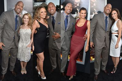The Hercules premiere is happening in LA right now and TheFIX couldn't help but notice how many lovely ladies <b>Dwayne 'The Rock' Johnson</b> has on his arm! The Hercules star strutted the red carpet with a little help from <b>Kylie Minogue</b>, <b>Mariah Carey</b>, <b>Irina Shayk</b> and his girlfriend <b>Lauren Hashian</b>. Hats off to you sir!<br/><br/>Flick through the snaps to find out which lucky lady got a kiss from the star and to see all the red carpet snaps from the glam Hollywood event..