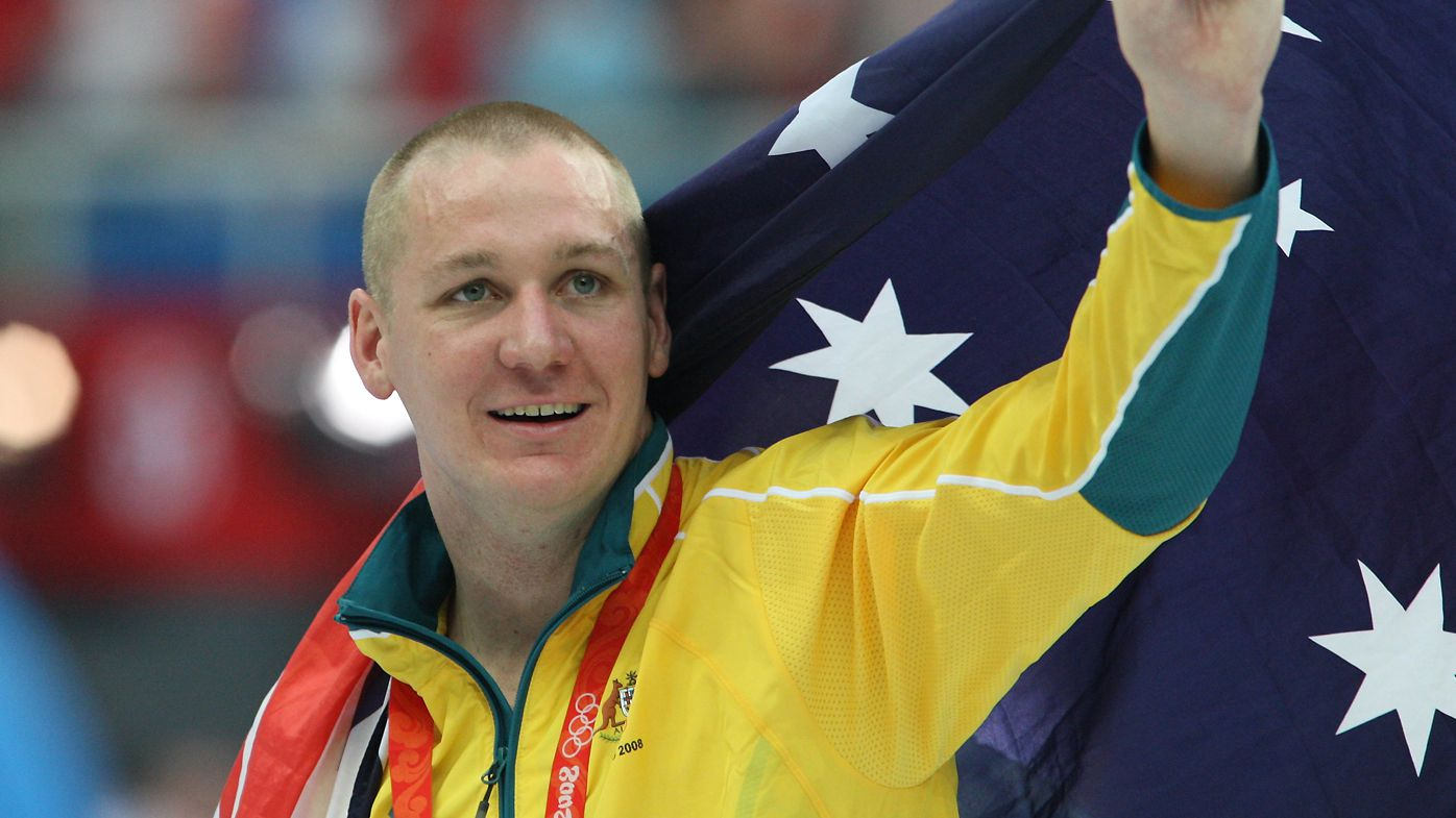 Brenton Rickard after winning a silver medal in the men's 200m breaststroke at the Beijing Olympics