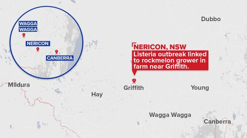 The farm, which has not been named, is located in the Riverina region of New South Wales. (9NEWS)