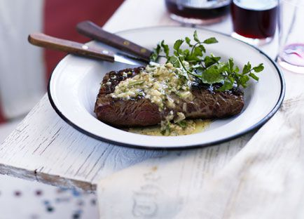 Skirt steak with anchovy and rosemary butter