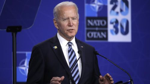 """U.S. President Joe Biden speaks during a media conference during a NATO summit in Brussels, Monday, June 14, 2021. The Chinese mission to the European Union on Tuesday denounced a NATO statement that declared Beijing a """"security challenge,"""" saying China is actually a force for peace but will defend itself if threatened."""