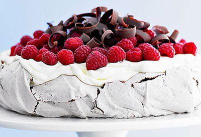 Chocolate pavlova with raspberries