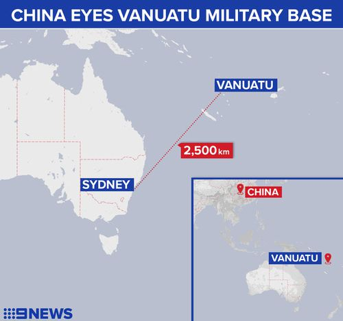 China is reported to be eyeing a Vanuatu military base. (9NEWS)