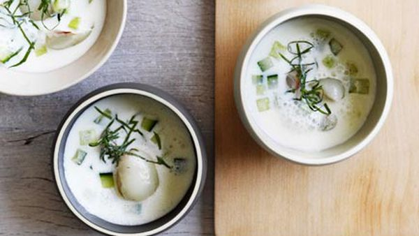 Apple and sour-cream soup with cucumber, mint and lychees