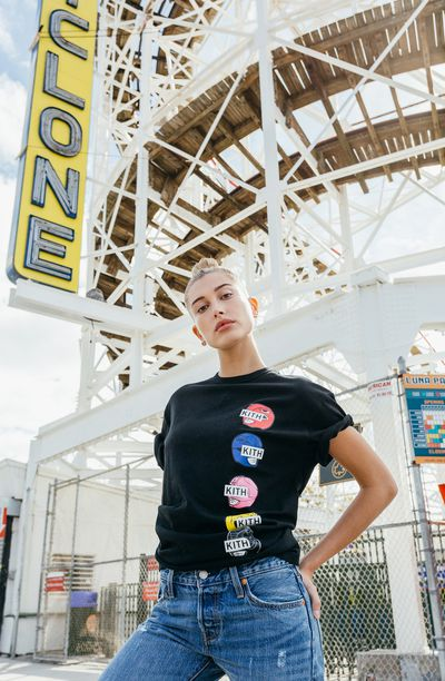 """Hailey Baldwin for<a href=""""https://kithnyc.com/pages/search-results-page?q=power+rangers"""" target=""""_blank"""">Kith</a> x Power Rangers"""