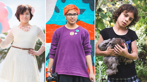 (From left) Korra, Oliver and Taleem who were photographed in the Transcend — Portraits of Transgender and Gender Diverse Youth exhibition.