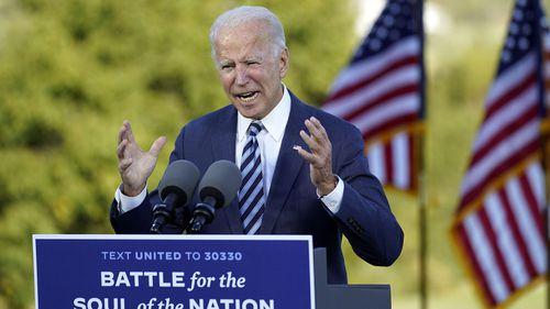 Democratic presidential candidate Joe Biden speaks at Gettysburg National Military Park in Gettysburg.