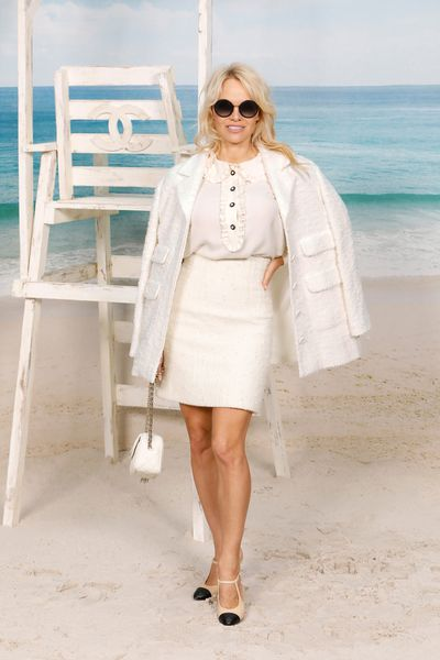 Pamela Anderson attends the Chanel show during Paris Fashion Week