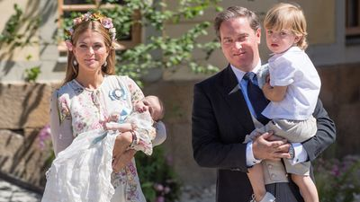 Princess Madeleine and family at daughter's christening