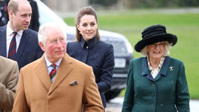 Prince Charles, Prince of Wales, Prince William, Duke of Cambridge, Catherine, Duchess of Cambridge and Camilla, Duchess of Cornwall arrive at the Defence Medical Rehabilitation Centre, Stanford Hall on February 11, 2020 in Loughborough, United Kingdom. Known as DMRC Stanford Hall, the centre is operated by the MOD and began admitting patients in October 2018.