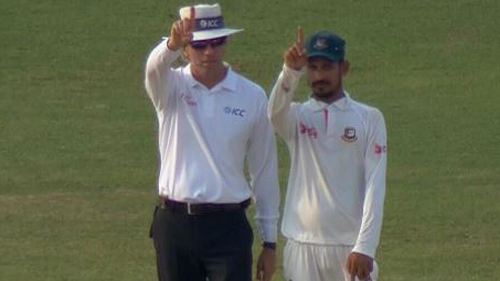 Australia vs Bangladesh cricket: Nasir Hossain imitates umpire Nigel Llong after successful review dismisses Pat Cummins