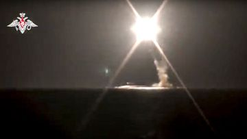 A new Zircon hypersonic cruise missile is launched by a submarine of the Russian navy from the Barents Sea