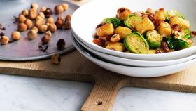 Gnocchi with Brussels sprouts, pancetta and hazelnuts