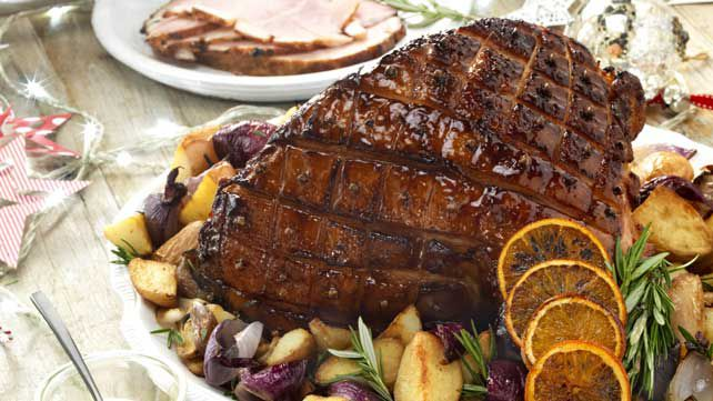 Bourbon glazed baked Christmas ham