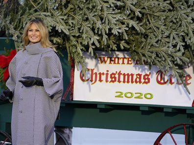 Melania Trump receives the 2020 White House Christmas tree.