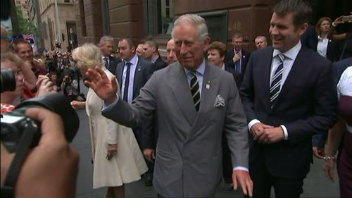 Prince Charles and Camilla arrive in Martin Place. (9NEWS)