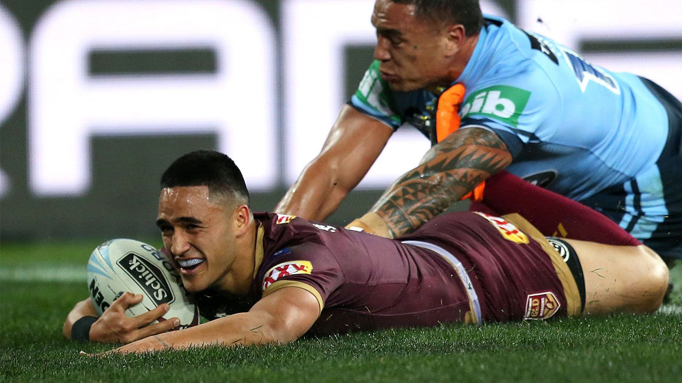 Valentine Holmes scores a try for Queensland.