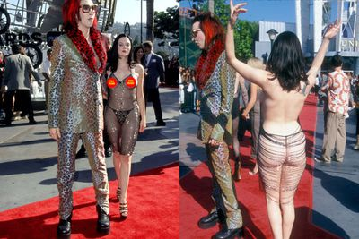 She shocked the world when she rocked up (quite literaly) as Marilyn Manson's date to the 1998 MTV Video Music Awards in THAT dress. Can we even call it a dress? <br/><br/>