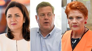 Incumbent Annastacia Palaszczuk, One Nation leader Pauline Hanson, and Opposition Leader Tim Nicholls. (AAP)