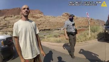 This police camera video provided by The Moab Police Department shows Brian Laundrie  talking to a police officer after police pulled over the van he was traveling in with Gabby Petito, near the entrance to Arches National Park on August 12, 2021.
