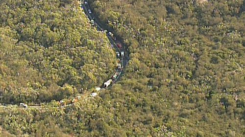 Traffic was backed up in the National Park for hours after the crash. Image: 9News