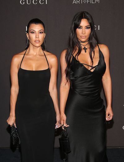 Kourtney and Kim Kardashian at the 2018 LACMA Art + Film Gala in Los Angeles, November, 2018