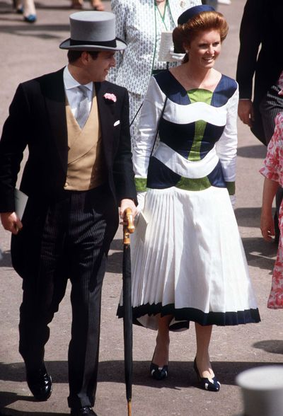 Prince Andrew with fiancee Sarah Ferguson at Ascot Races, circa 1980s