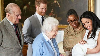 Archie meets Queen Elizabeth and Prince Philip inside Windsor Castle alongside Harry, Meghan and Doria Ragland