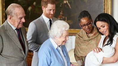 Archie meets Queen Elizabeth and Prince Philip inside Windsor Castle alongside Harry, Meghan and Doria Ragland