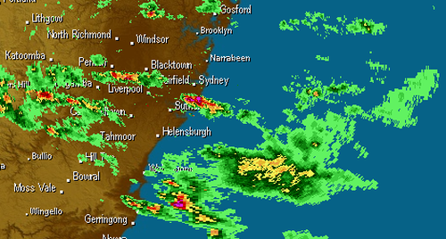 The Bureau of Meteorology issued a severe thunderstorm warning just before 4pm, with the storms bringing the potential for hail.