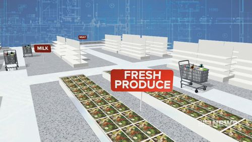 Supermarkets are designed with the fresh produce at the front to make customers feel like they're being healthy. (9NEWS)