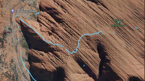 Uluru climb images on Google Maps