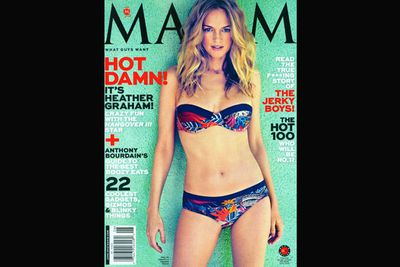 Bombshell Heather Graham rocks a bikini on the cover of US magazine, Maxim. At 43, her body is out of control!