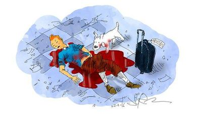 <p>An artistic depiction of popular cartoon Tin Tin, created by Belgian cartoonist Georges Remi.</p>By Jerm.