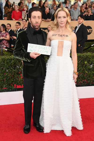 Actors Simon Helberg and Jocelyn Towne at the 23rd Annual Screen Actors Guild Awards, January, 2017