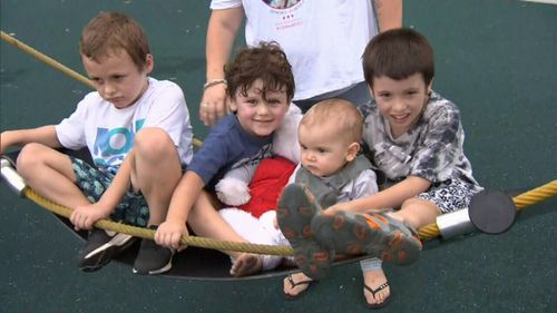 Dylan's four brothers use the teddy bear to keep him close to their hearts. (9NEWS)