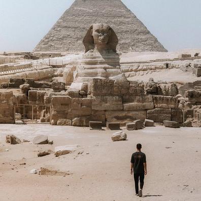 Jack Morris in Egypt, his first trip without partner Lauren Bullen.