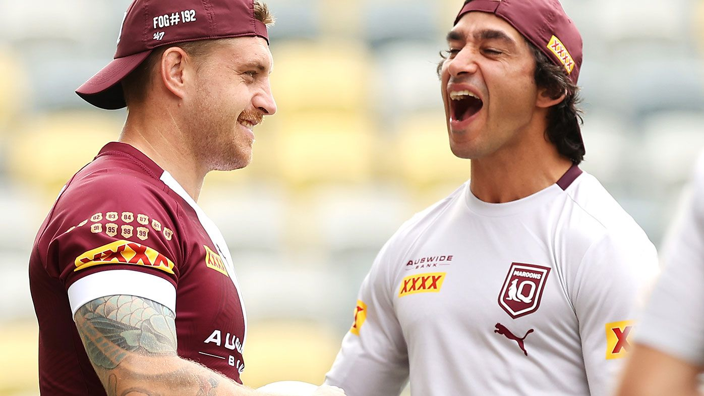 Cameron Munster with former Queensland great Jonathan Thurston.