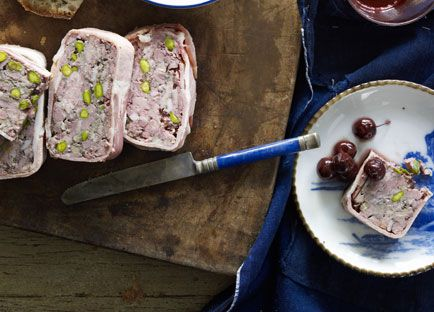 Duck and pork terrine with pickled cherries