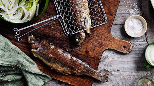 Smoked stuffed trout with smoky garlic and lime mayo
